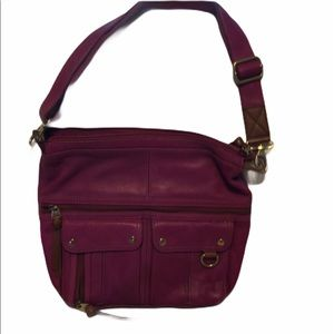 Purple Leather Fossil Bag with Lots of Pockets
